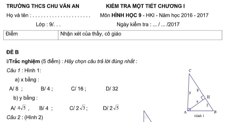 Đề kiểm tra 45p | Hình Học 9 |Chương 1|Hệ thức lượng trong tam giác