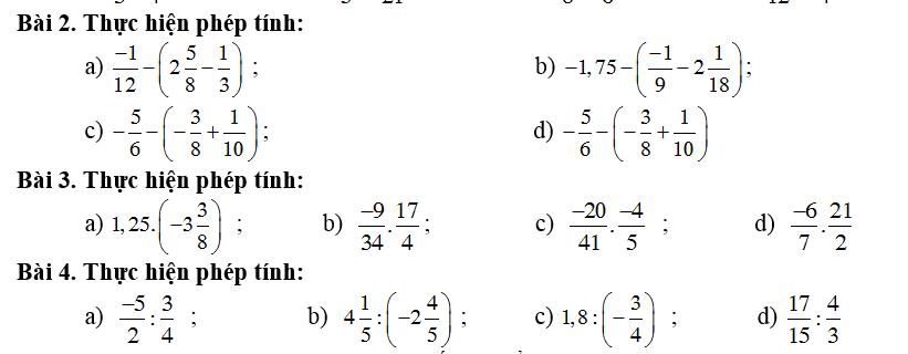 Các phép toán về số hữu tỉ