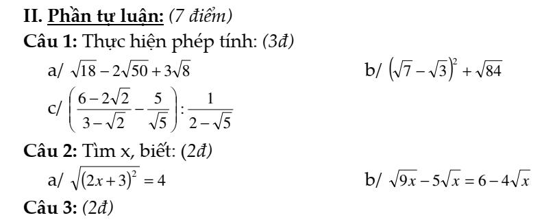 Đề kiểm tra 1 tiết Toán đại số 9 chương 1: Căn bậc hai