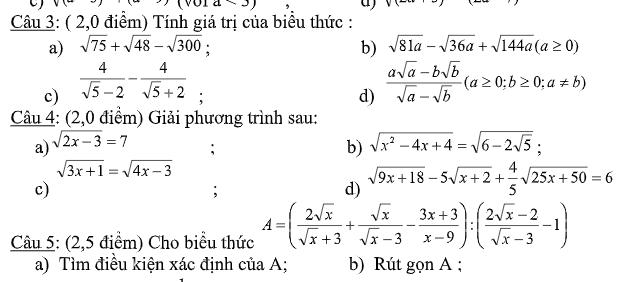 Đề kiểm tra chương 1 và 2 đại số 9- Có đáp án đầy đủ