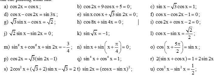 Phương trình lượng giác tổng hợp- thầy Quang