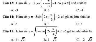 2 đề kiểm tra 45 phút chương 1 đại số 11- Hàm số và phương trình lượng giác- đề số 11