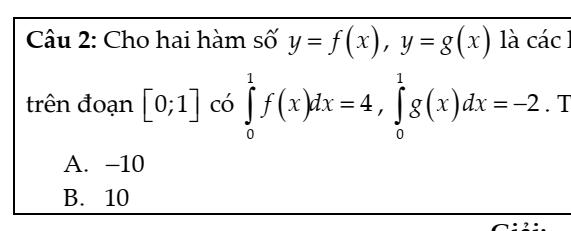 Câu hỏi thực tế hay sử dụng về nguyên hàm tích phân- Phạm Minh Tuấn