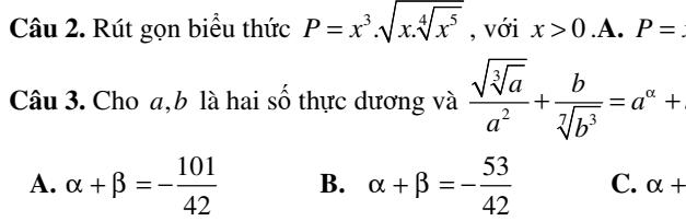 Đề kiểm tra chương 2- giải tích 12- Hàm số và phương trình Mũ-Lô-ga-rít