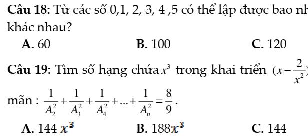 Đề kiểm tra 45 phút đại số và giải tích 11- Chương 2- Đại số tổ hợp nhị thức NewTon- đáp án đầy đủ
