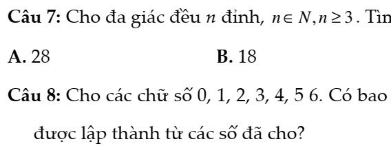 Đề kiểm tra 45 phút đại số và giải tích 11 chương 2- Đại số tổ hợp xác suất- Đáp án chi tiết