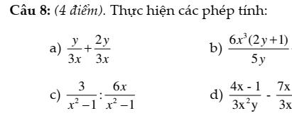 Đề kiểm tra đại số 8 chương 2: Phân thức đại số - đầy đủ có đáp án