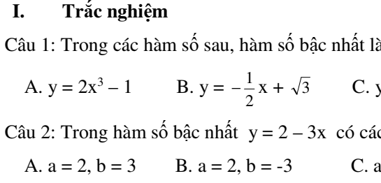 8 đề kiểm tra 45 phút đại số 9- chương 2: hàm số bậc nhất- đủ dạng