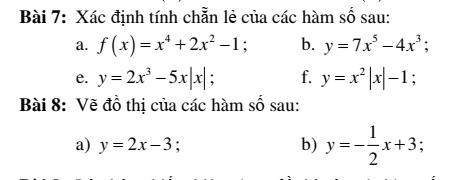 Bài tập đại số 10 chương 2: Hàm số bậc nhất và hàm số bậc hai- đầy đủ
