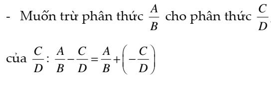 Phép trừ các phân thức đại số - Chương 2- đại số 8- Đầy đủ lý thuyết và bài tập