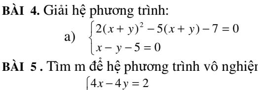 Bài tập: Hệ phương trình bậc nhất hai ẩn - Đại số 9
