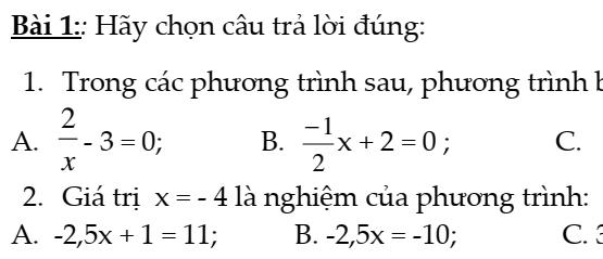 Bài tập trắc nghiệm chương 3- Đại số 8- Phương trình bậc nhất