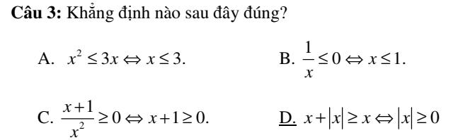 Đề kiểm tra 45 phút môn Toán đại số 10- chương 4- có đáp án chi tiết