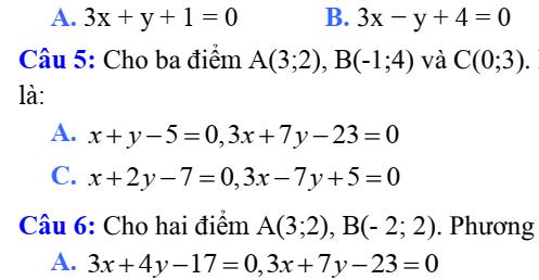 Đề kiểm tra Hình Học 10-Chương 3- Phương pháp tọa độ trong mặt phẳng Oxy. Phương trình đường thẳng trong mặt phẳng.