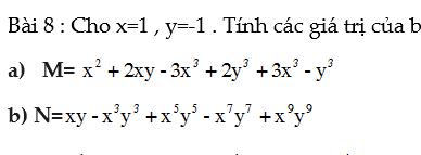 Chuyên đề biểu thức đại số- Giá trị của biểu thức đại số- Toán 7