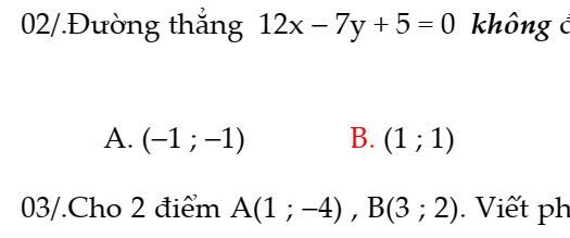 Bài tập trắc nghiệm phương trình đường thẳng trong mặt phẳng Oxy- FULL đáp án