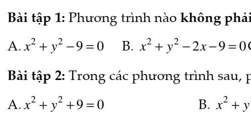 Bài tập về phương trình đường tròn trong mặt phẳng OXY – Hình học 10 đủ dạng