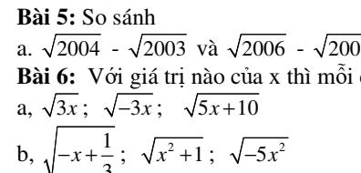 Bài tập căn bậc hai và các hằng đẳng thức căn bậc hai