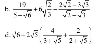 Bài tập Căn Bậc Hai Trục căn thức ở mẫu- Đại số 9 – Đầy đủ đáp án mới nhất