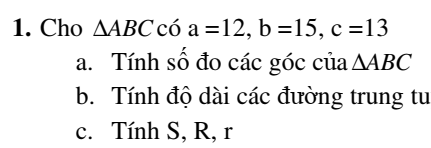 Bài tập hệ thức lượng trong tam giác – Hình học 10