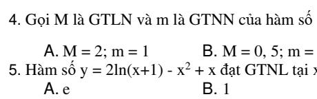 Bài tập giá trị lớn nhất- giá trị nhỏ nhất của hàm số - Đủ dạng