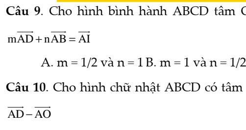 Bài tập trắc nghiệm hình học 10 Chương 1-2- Đầy đủ dạng