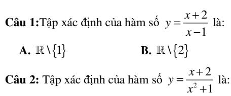 Bài tập trắc nghiệm chương 2: Đại cương hàm số- Hàm số bậc nhất- hàm số bậc hai- Đại số 10- Đủ dạng- Chi tiết