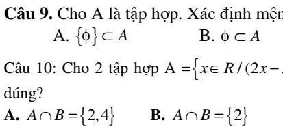 Các dạng Bài tập đại số và hình học chương 1- Toán 10