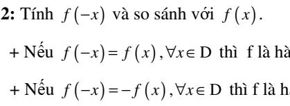 Chuyên đề: Tính chẵn lẽ của hàm số - Đại số 10